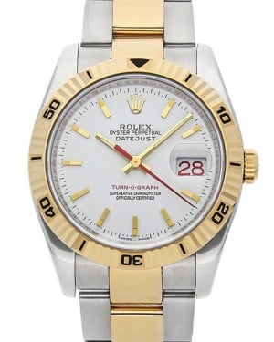 Rolex Datejust 36 Yellow Gold/Steel White Index Dial & Turn-O-Graph Thunderbird Bezel Oyster 116263 - BRAND NEW