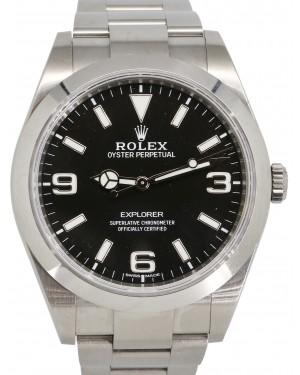 Rolex Explorer I Stainless Steel Black 3 6 9 Lume 39mm Dial Domed Bezel Oyster Bracelet 214270 - PRE-OWNED