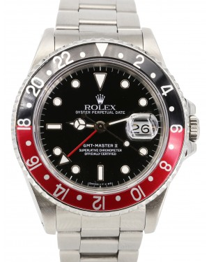 """Rolex GMT-Master II Stainless Steel """"Coke"""" Black Red Dial Oyster Bracelet 16710 PRE-OWNED"""