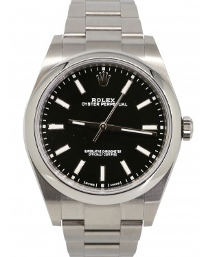 Rolex Oyster Perpetual 39 Stainless Steel Black Index Dial & Smooth Bezel Oyster Bracelet 114300 - PRE-OWNED