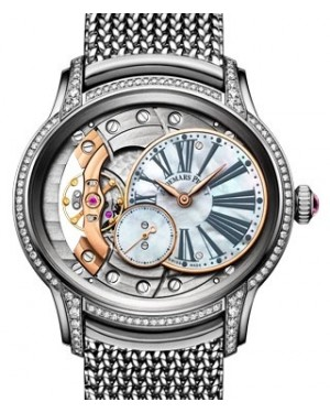 Audemars Piguet Millenary Hand-Wound Diamond Set White Gold White Mother of Pearl Roman Dial & Diamond Bezel White Gold Bracelet 77247BC.ZZ.1272BC.01 - BRAND NEW