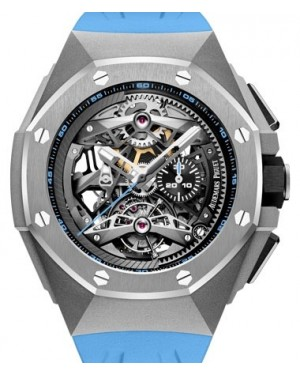 Audemars Piguet Royal Oak Concept Tourbillon Chronograph Openworked Selfwinding Titanium Black  Dial & Fixed Bezel Blue Rubber Bracelet 26587TI.OO.D031CA.01 - BRAND NEW