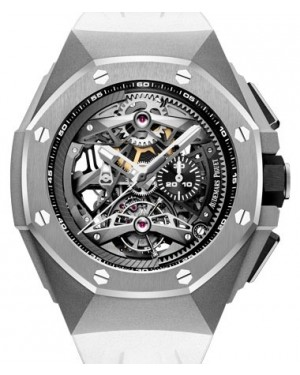 Audemars Piguet Royal Oak Concept Tourbillon Chronograph Openworked Selfwinding Titanium Black  Dial & Fixed Bezel White Rubber Bracelet 26587TI.OO.D010CA.01 - BRAND NEW