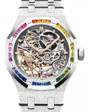 Audemars Piguet Royal Oak Frosted Gold Double Balance Wheel Openworked White Gold Rhodium-Toned Index Dial & Rainbow Baguette Sapphires Bezel White Gold Bracelet 15468BC.YG.1259BC.01 - BRAND NEW