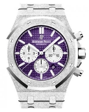 Audemars Piguet Royal Oak Frosted Gold Selfwinding Chronograph White Gold Purple Index Dial & Fixed Bezel White Gold Bracelet 26331BC.GG.1224BC.01 - BRAND NEW