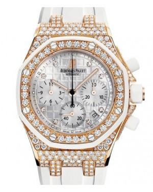 Audemars Piguet Royal Oak Ladies Offshore Chronograph Rose Gold Diamonds White 37mm Dial Rubber Strap 26092OK.ZZ.D010CA.01