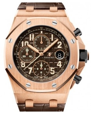 Audemars Piguet Royal Oak Offshore Selfwinding Chronograph Rose Gold Brown Arabic Dial & Fixed Bezel Leather Bracelet 26470OR.OO.A099CR.01 - BRAND NEW