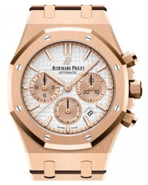Audemars Piguet Royal Oak Selfwinding Chronograph Rose Gold Silver Index Dial & Fixed Bezel Rose Gold Bracelet 26315OR.OO.1256OR.01 - BRAND NEW