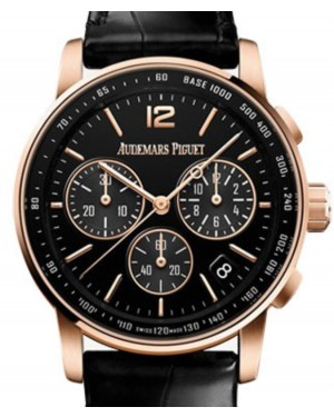 Audemars Piguet Code 11.59 Selfwinding Chronograph Rose Gold/Sapphire 41mm Black Dial Leather Strap 26393OR.OO.A002CR.01 - Brand New