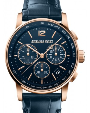 Audemars Piguet Code 11.59 Selfwinding Chronograph Rose Gold/Sapphire 41mm Blue Dial Leather Strap 26393OR.OO.A321CR.01 - Brand New