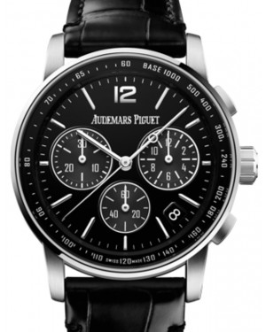 Audemars Piguet Code 11.59 Selfwinding Chronograph White Gold/Sapphire 41mm Black Dial Leather Strap 26393BC.OO.A002CR.01 - Brand New