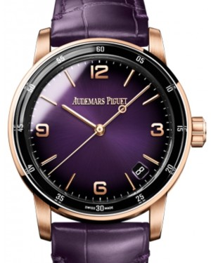 Audemars Piguet Code 11.59 Selfwinding Rose Gold/Sapphire 41mm Purple Dial Leather Strap 15210OR.OO.A616CR.01 - Brand New