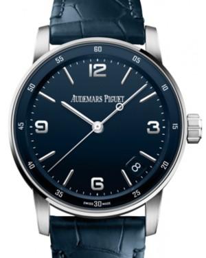 Audemars Piguet Code 11.59 Selfwinding White Gold/Sapphire 41mm Blue Dial Leather Strap 15210BC.OO.A321CR.01 - Brand New