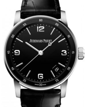 Audemars Piguet Code 11.59 Selfwinding White Gold/Sapphire 41mm Black Dial Leather Strap 15210BC.OO.A002CR.01 - Brand New