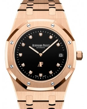 "Audemars Piguet Royal Oak ""Jumbo"" Extra-Thin Rose Gold Black Diamond Dial 39mm Rose Gold Bracelet 15207OR.OO.1240OR.01 - BRAND NEW"