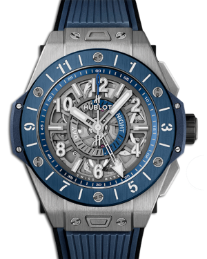 Big Bang Unico Gmt Titanium Blue Skeleton Dial Ceramic Bezel Rubber Strap 45mm 471.NL.7112.RX - BRAND NEW