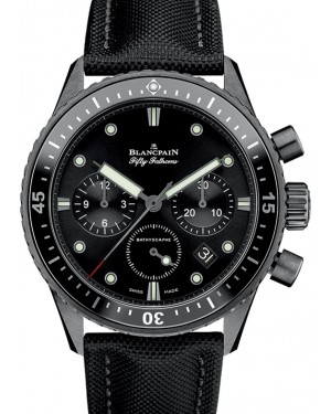 Blancpain Fifty Fathoms Bathyscaphe Chronographe Flyback Black Ceramic Black Dial Canvas Strap 5200 0130 B52A - BRAND NEW
