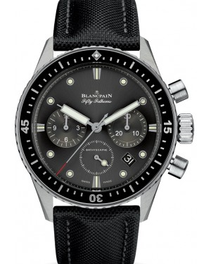 Blancpain Fifty Fathoms Bathyscaphe Chronographe Flyback Steel Grey Meteor Dial Canvas Strap 5200 1110 B52A - BRAND NEW