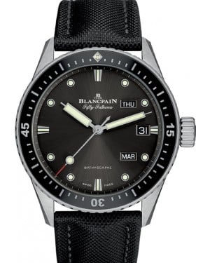Blancpain Fifty Fathoms Bathyscaphe Quantième Annuel Steel Grey Meteor Dial Canvas Strap 5071 1110 B52A - BRAND NEW