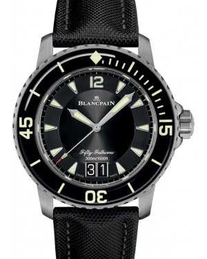 Blancpain Fifty Fathoms Grande Date Titanium Black Dial Canvas Strap 5050 12B30 B52A - BRAND NEW