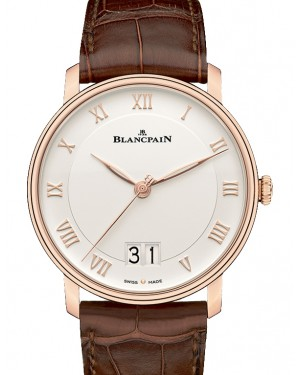 Blancpain Villeret Grande Date Steel White Dial Alligator Leather Strap 6669 3642 55A - BRAND NEW