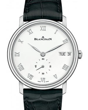 Blancpain Villeret Jour Date Steel White Dial Alligator Leather Strap 6652 1127 55B - BRAND NEW