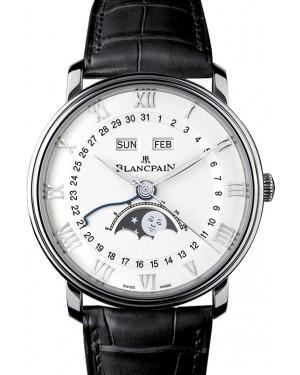 Blancpain Villeret Quantième Complet Steel White Dial Alligator Leather Strap 6654 1127 55B - BRAND NEW