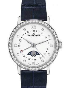 Blancpain Villeret Quantième Phases de Lune Steel White Diamond Dial & Bezel Alligator Leather Strap 6106 4628 55A - BRAND NEW