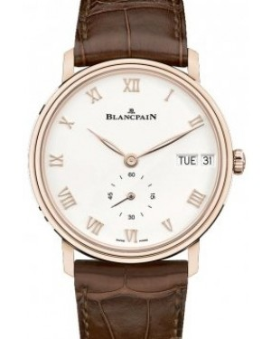 Blancpain Villeret Ultraplate Red Gold Opaline Dial Alligator Leather Strap 6652 3642 55B - BRAND NEW