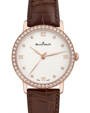 Blancpain Villeret Ultraplate Red Gold Opaline Diamond Dial & Bezel Alligator Leather Strap 6104 2987 55A - BRAND NEW