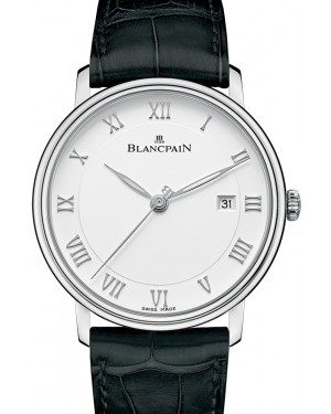 Blancpain Villeret Ultraplate Steel White Dial Alligator Leather Strap 6651 1127 55B - BRAND NEW