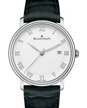 Blancpain Villeret Ultraplate Steel White Dial Alligator Leather Strap 6651 1127 55B - BRAND NEW