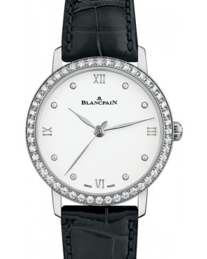 Blancpain Villeret Ultraplate Steel White Diamond Dial & Bezel Leather Strap 6104 4628 55A - BRAND NEW
