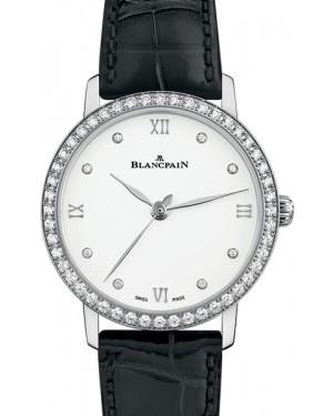 Blancpain Villeret Ultraplate Steel White Diamond Dial & Bezel Leather Strap 6104 4628 55A - BRAND NEW
