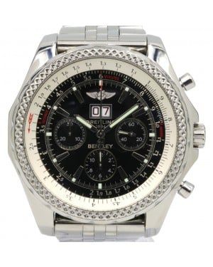 Breitling Bentley 6.75 A44362 Men's 48mm Black Index Chronograph Stainless Steel - PRE-OWNED