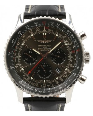 Breitling Navitimer 01 AB01271A Black Index Stainless Steel Leather Chronograph 46mm - PRE-OWNED