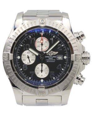 Breitling Super Avenger A13370 Black Arabic 48mm Stainless Steel Pro 2 - PRE-OWNED