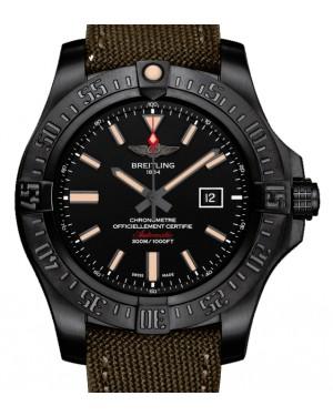 Breitling Avenger Blackbird Black Dial Titanium Bezel Military Strap 48mm V1731010.BD12 - BRAND NEW