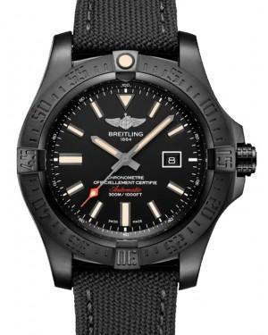 Breitling Avenger Blackbird Black Dial Titanium Bezel Military Strap 48mm V17310101.B1W1 - BRAND NEW