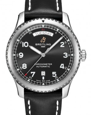 Breitling Aviator 8 Automatic Day & Date 41 Black Dial Stainless Steel Bezel Leather Bracelet A45330101.B1X1 - BRAND NEW