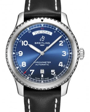 Breitling Aviator 8 Automatic Day & Date 41 Blue Dial Stainless Steel Bezel Leather Strap A45330101.C1X1 - BRAND NEW
