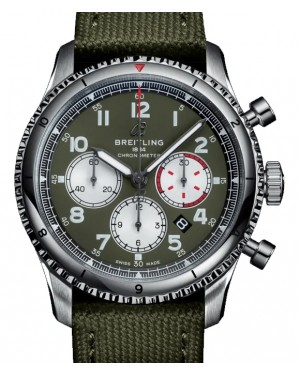 Breitling Aviator 8 B01 Chronograph 43 Curtis Warhawk Green Dial Stainless Steel Bezel Military Strap AB01192A1.L1X1 - BRAND NEW