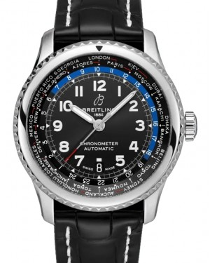 Breitling Aviator 8 B35 Automatic Unitime 43 Black Dial Stainless Steel Bezel Leather Strap AB3521U41.B1P1 - BRAND NEW