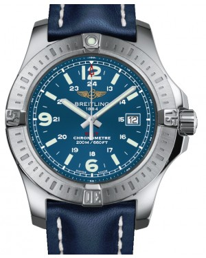 Breitling Colt 44 Quartz Blue Dial Stainless Steel Bezel Leather Strap 44mm A17338811.C907 - BRAND NEW