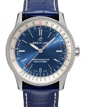 Breitling Navitimer 1 Blue Dial Stainless Steel Bezel Leather Strap 38mm A17325211.C1P1 - BRAND NEW