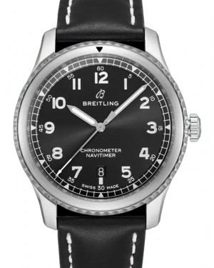 Breitling Navitimer 8 Automatic 41 Black Dial Stainless Steel Bezel Leather Strap A17314101.B1X1 - BRAND NEW