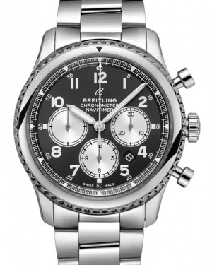 Breitling Navitimer 8 B01 Chronograph 43 Black Dial Stainless Steel Bezel & Bracelet AB0117131.B1A1 - BRAND NEW