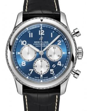 Breitling Navitimer 8 B01 Chronograph 43 Blue Dial Stainless Steel Bezel Leather Bracelet AB0117131.C1P1 - BRAND NEW