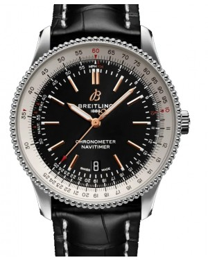 Breitling Navitimer Automatic 41 Black Dial Stainless Steel Bezel Leather Strap A17326211.B1P1 - BRAND NEW