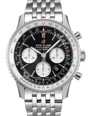Breitling Navitimer B01 Chronograph 43 Black Dial Stainless Steel Bezel & Bracelet AB0121211.B1A1 - BRAND NEW